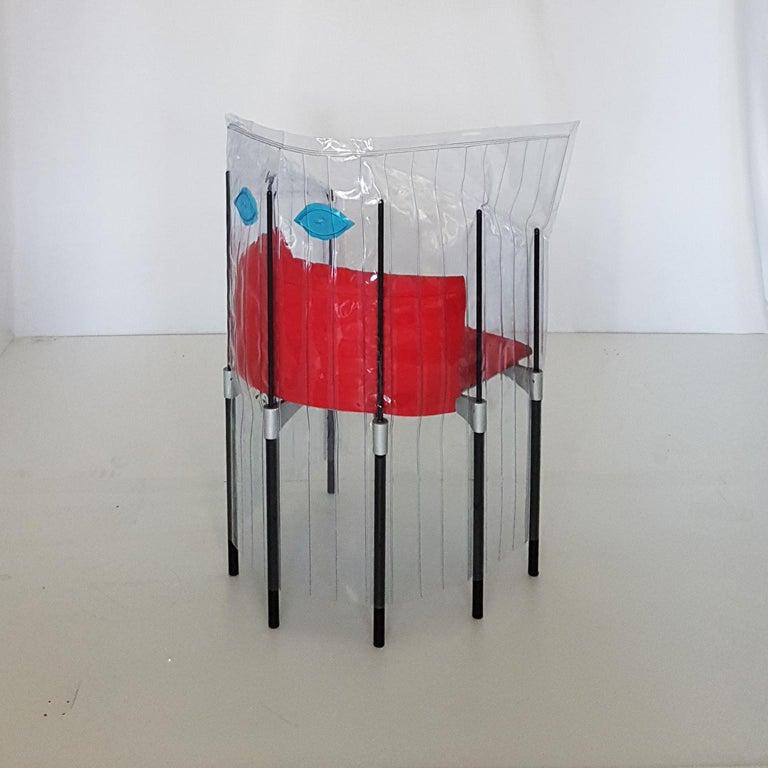 Aluminum Contemporary Italian Gaetano Pesce Aluminium Structure Armchair with Red Seat For Sale