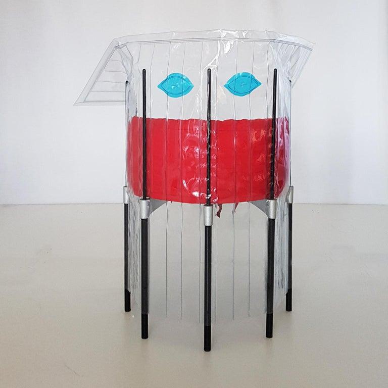 Contemporary Italian Gaetano Pesce Aluminium Structure Armchair with Red Seat For Sale 1