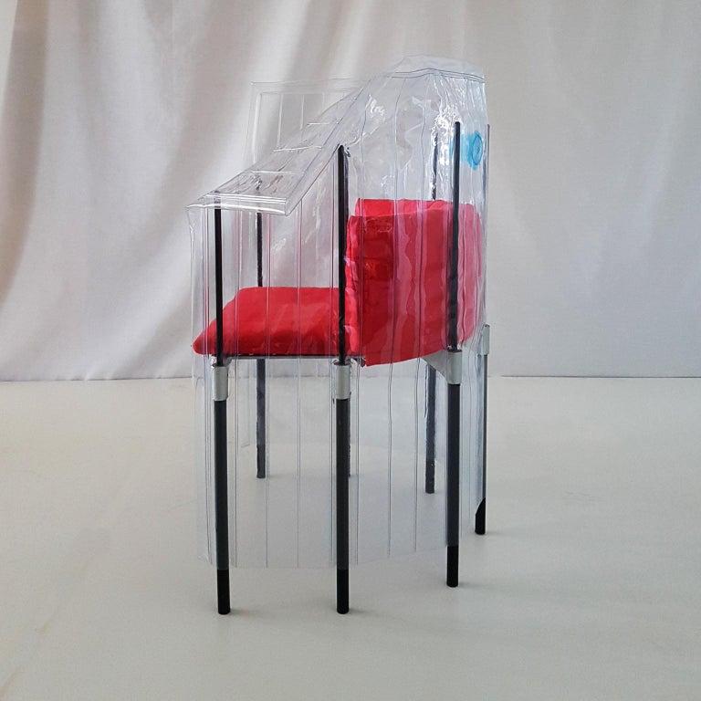 Contemporary Italian Gaetano Pesce Aluminium Structure Armchair with Red Seat For Sale 2