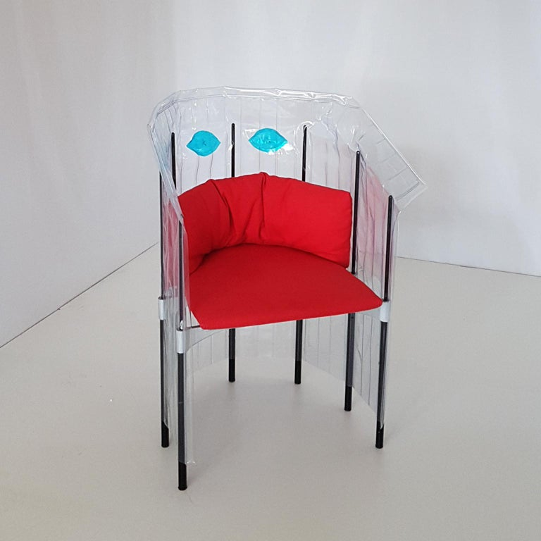 Contemporary Italian Gaetano Pesce Aluminium Structure Armchair with Red Seat For Sale 3