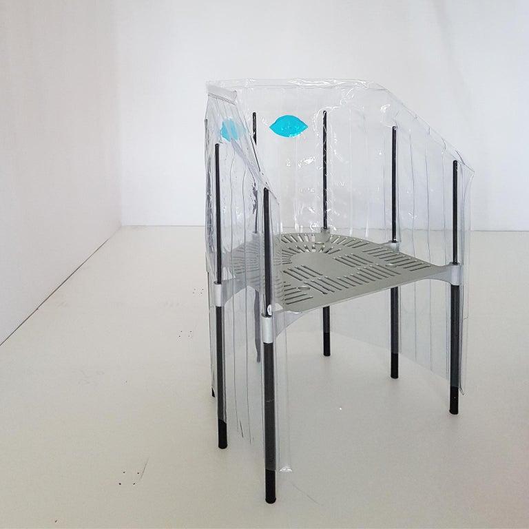 Contemporary Italian Gaetano Pesce Aluminium Structure Armchair with Red Seat For Sale 4