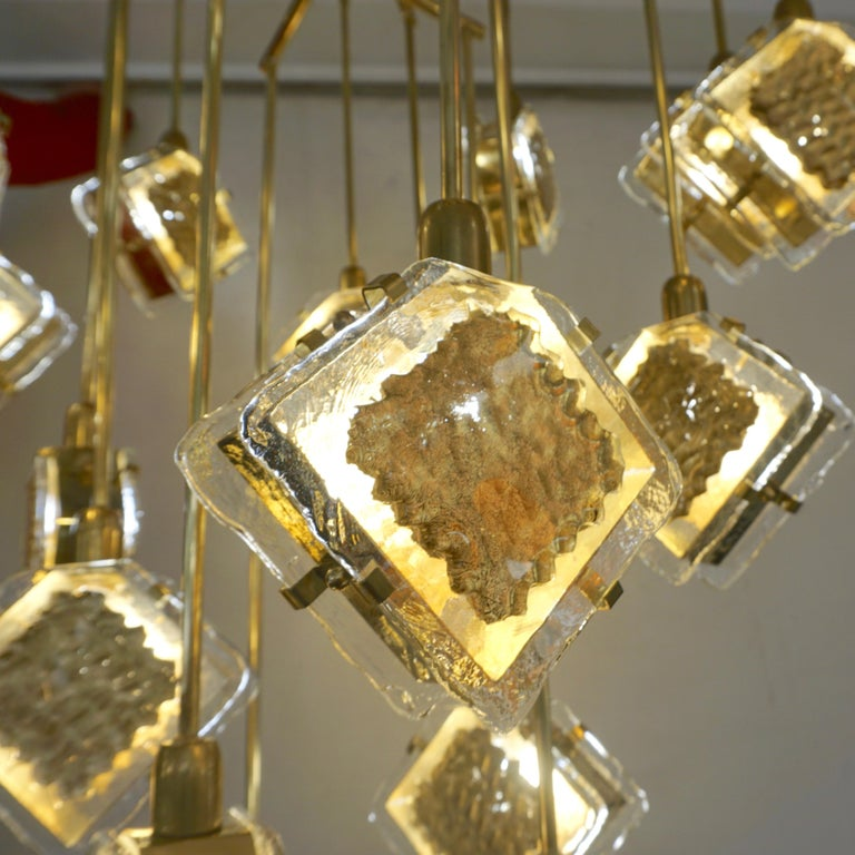 Geometric Brass Chandelier: Contemporary Italian Geometric Design Gold Crystal Murano
