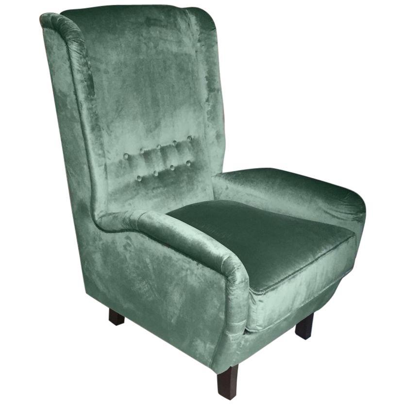 Contemporary Italian Gio Ponti Style Teal Aqua Green Velvet High Back Armchair
