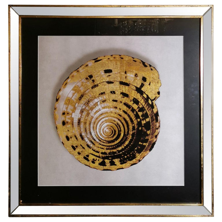 Contemporary Italian Golden Shell Print, Gilded Wood Frame with Mirror '1 of 4' For Sale