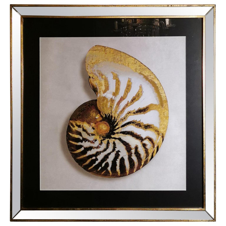 Contemporary Italian Golden Shell Print, Gilded Wood Frame with Mirror '2 of 4' For Sale