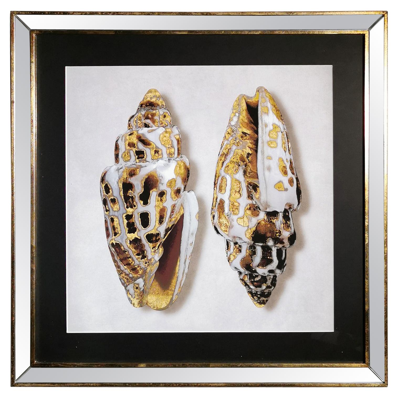 Contemporary Italian Golden Shells Print, Gilded Wood Frame with Mirror '4 of 4'