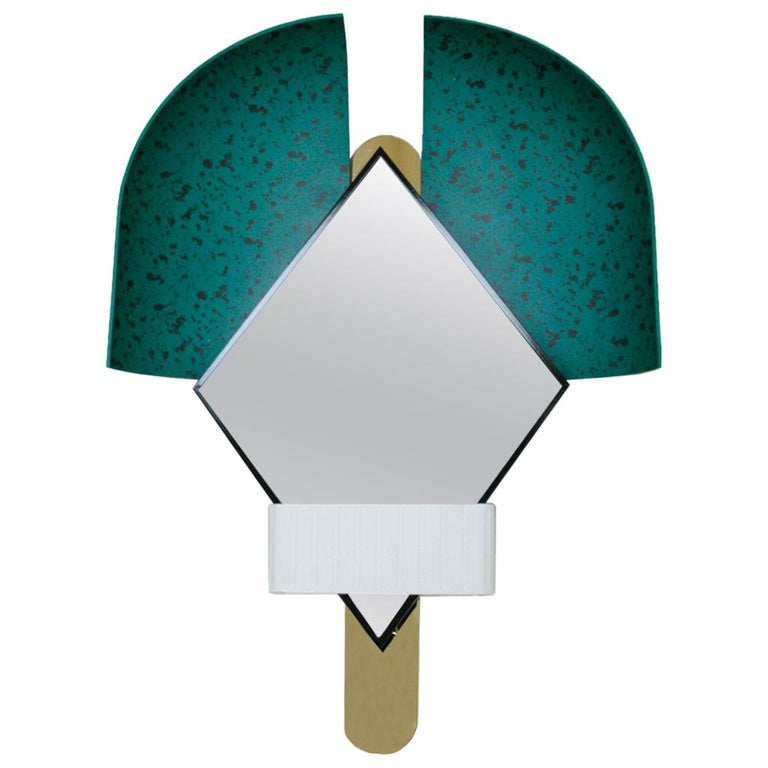 "Contemporary Italian Green ""Bonnet"" Mirror Designed by Elena Salmistraro For Sale"