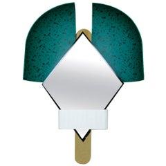 "Contemporary Italian Green ""Bonnet"" Mirror Designed by Elena Salmistraro"
