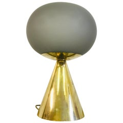 Contemporary Italian Grey Glass and Brass Table Lamp