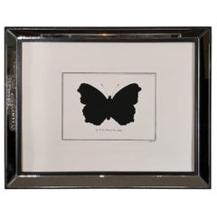 Contemporary Italian Hand Colored Peacock Butterfly Print with Mirror Frame