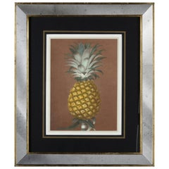 Contemporary Italian Hand Colored Print with Gold Leaf and Mirror Frame