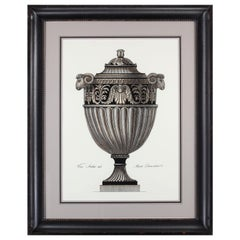 Contemporary Italian Hand Colored Roman Vase Print with Handcrafted Black Frame