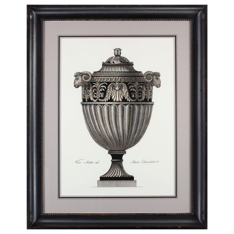 Contemporary Italian Hand Colored Roman Vase Print with Handcrafted Black Frame For Sale