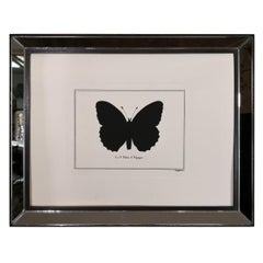Contemporary Italian Hand-Colored Silver-Washed Butterfly Print with MirrorFrame