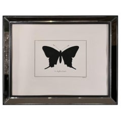 Contemporary Italian Hand Colored Swallowtail Butterfly Print with Mirror Frame