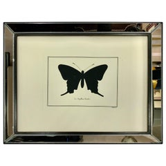 Contemporary Italian Hand Watercolored Print with Mirror Frame