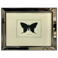 Contemporary Italian Hand Water Colored Butterfly Print with Mirror Frame