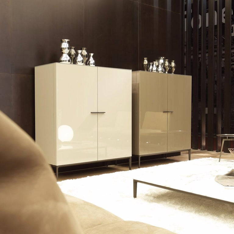 Modern Contemporary Italian High Sideboard in Glossy Greige Lacquer For Sale