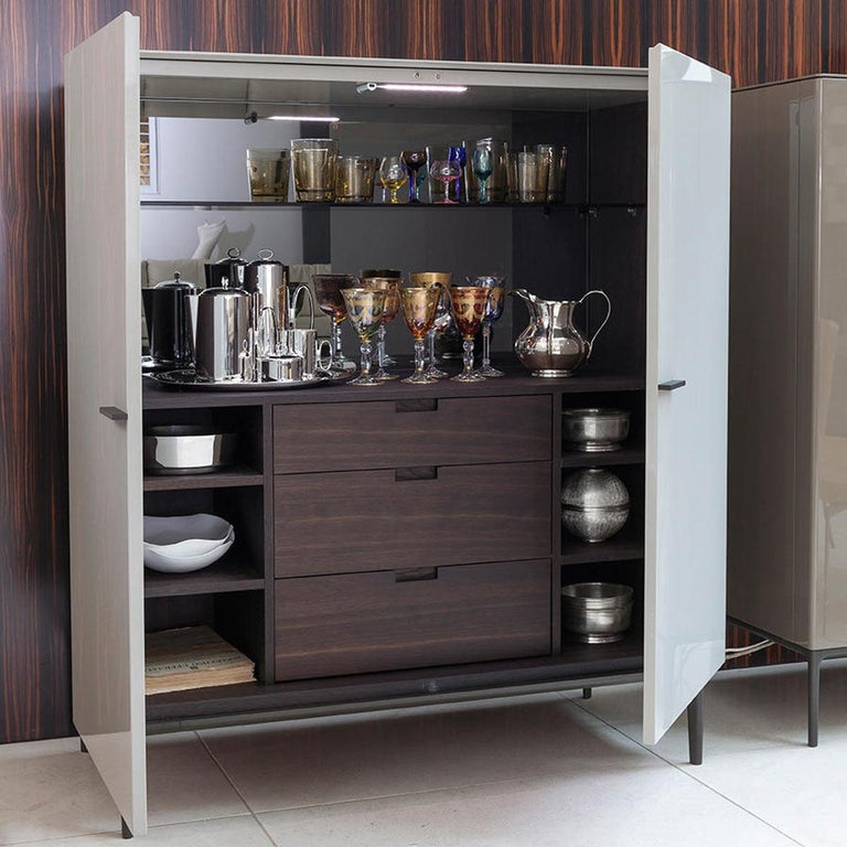 Wood Contemporary Italian High Sideboard in Glossy Greige Lacquer For Sale