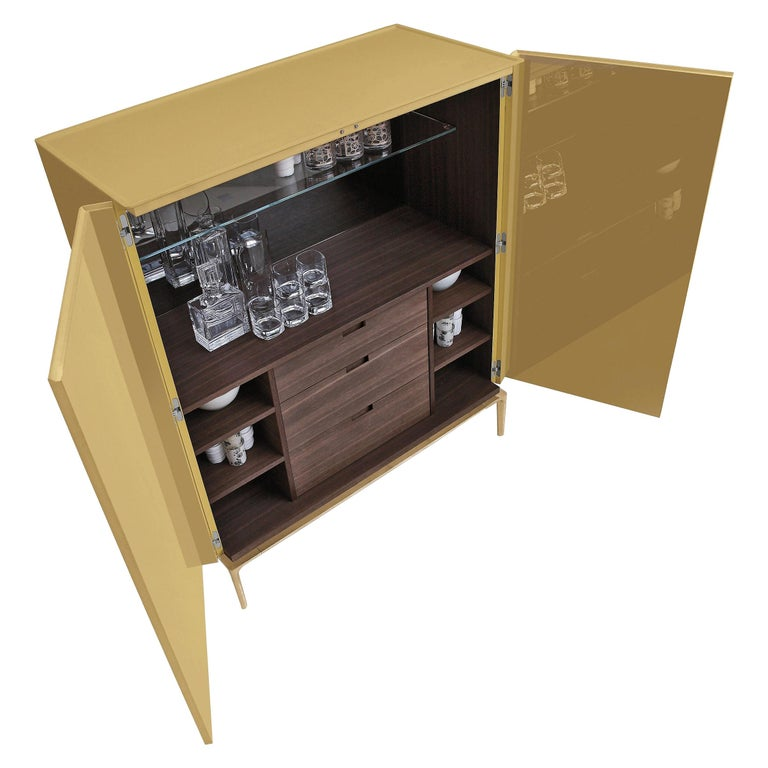 Contemporary Italian High Sideboard in Glossy Greige Lacquer For Sale