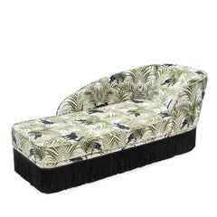 Italian Green Jungle Print Daybed Chaise Lounge with Silk Fringe