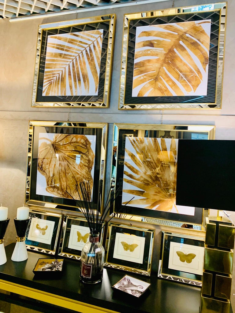 Contemporary Italian Leaf Motif Print, Gold Wood Frame with Mirror For Sale 1