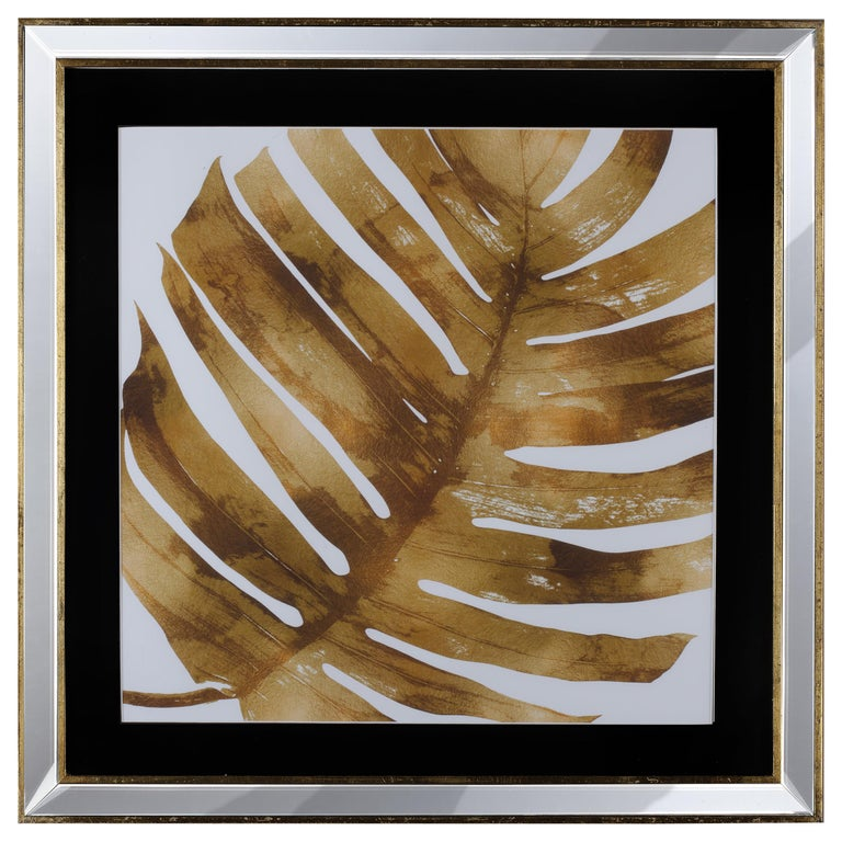 Contemporary Italian Leaf Motif Print, Gold Wood Frame with Mirror For Sale