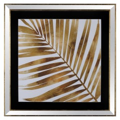 Contemporary Italian Leaf Motif Print, Gold Wood Frame with Mirror