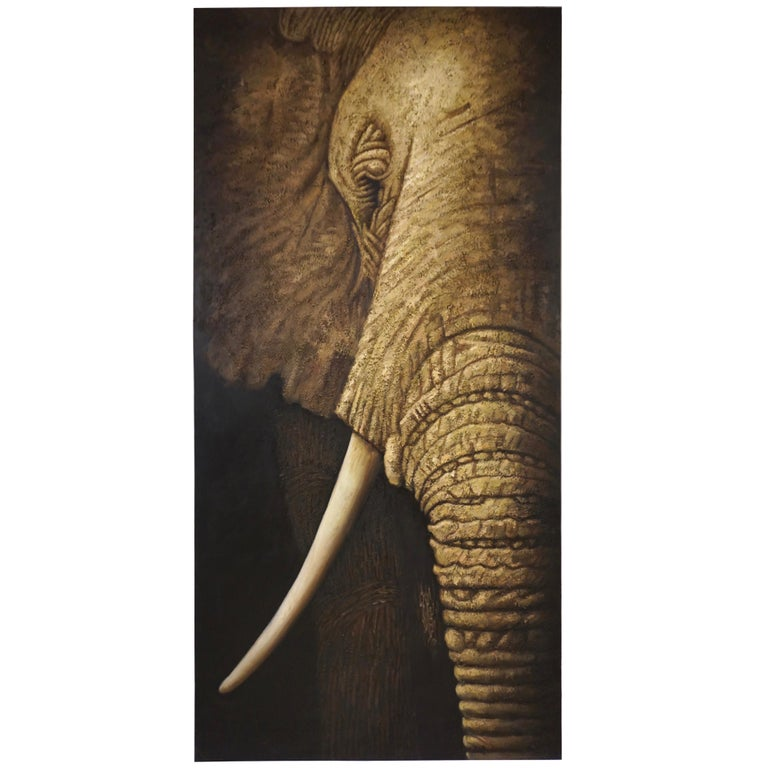 Contemporary Italian Life Size Oil Painting Panel of Elephant For Sale