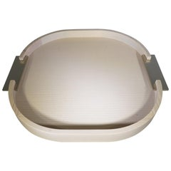 Contemporary Italian Light Wood Small Round Riviere Tray with Metal Handles