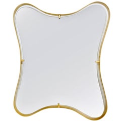 Contemporary Italian Minimalist Brass Mirror with Organic Undulating Frame