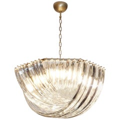 Contemporary Italian Minimalist Curved Crystal Murano Glass Brass Chandelier
