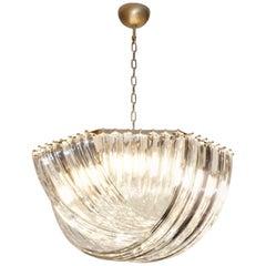 Contemporary Italian Minimalist Curved Crystal Murano Glass Brass Chandelier