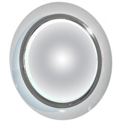 Contemporary Italian Minimalist Curved Silver & Frosted Glass Round Lit Mirror