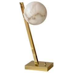 Contemporary Italian Minimalist Geometric White Alabaster Offset Brass Lamp