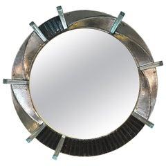 Contemporary Italian Bespoke Black Silver & Aqua Murano Glass Brass Round Mirror
