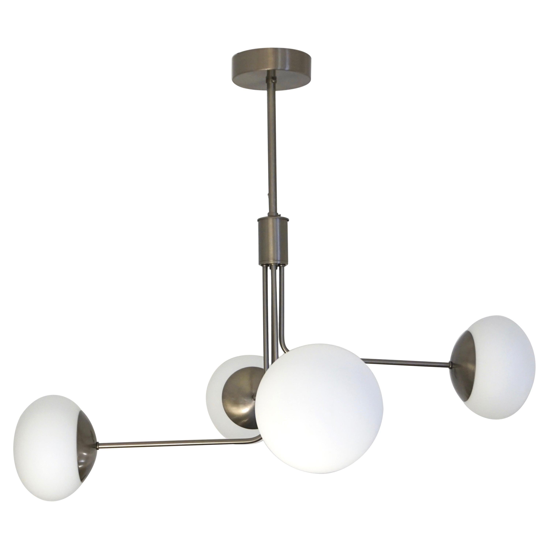 Contemporary Italian Modern Oil Rubber 4 White Murano Glass Globe Chandelier