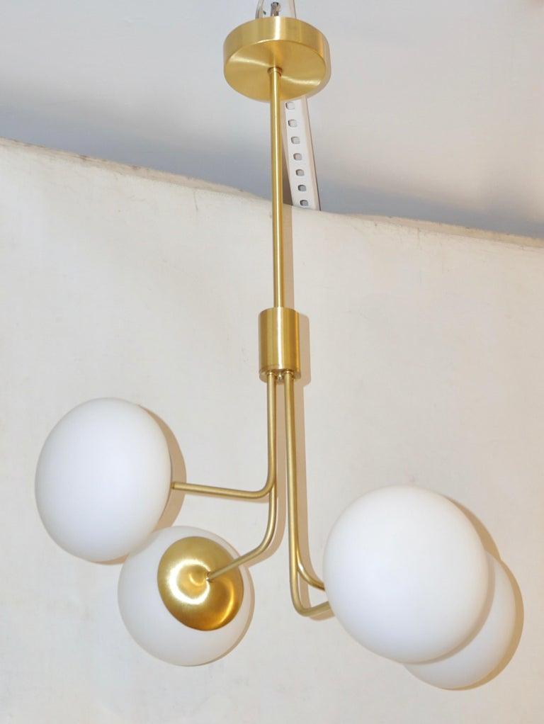 Mid-Century Modern Contemporary Italian Modern Satin Brass & 4 White Murano Glass Globe Chandelier For Sale