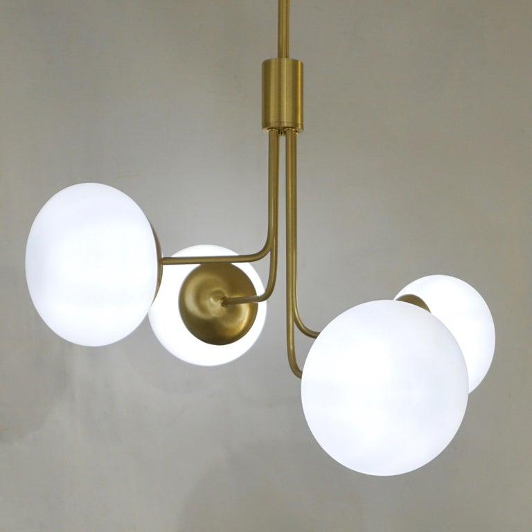 Contemporary Italian Modern Satin Brass & 4 White Murano Glass Globe Chandelier For Sale 3