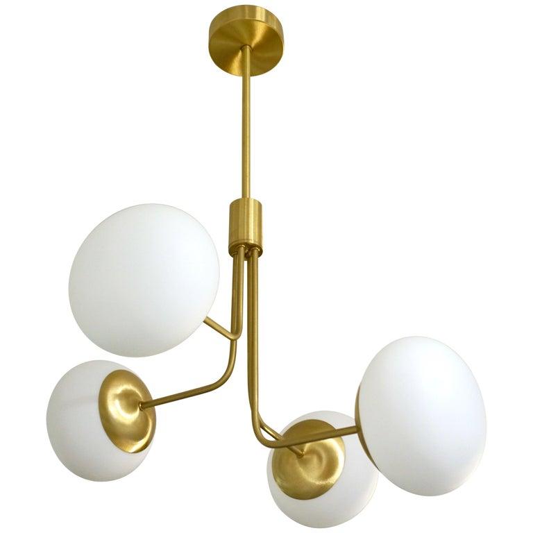 Contemporary Italian Modern Satin Brass & 4 White Murano Glass Globe Chandelier For Sale