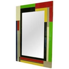 Contemporary Italian Mondrian Decor Blue Green Yellow White Black Glass Mirror