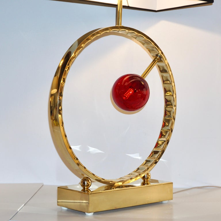 Contemporary Italian Monumental Pair of Brass & Red Murano Glass Console Lamps For Sale 7