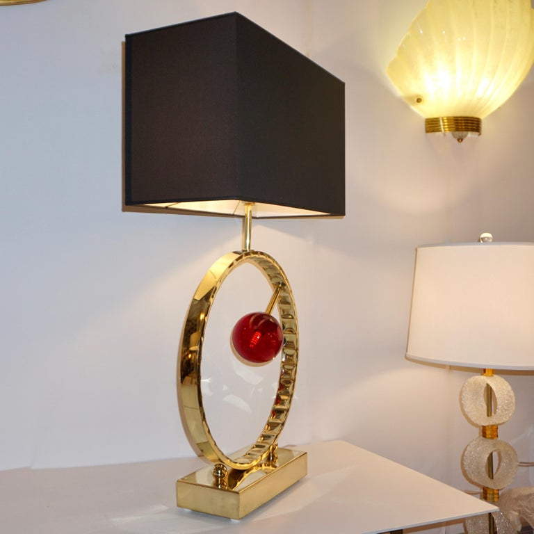 Hand-Crafted Contemporary Italian Monumental Pair of Brass & Red Murano Glass Console Lamps For Sale