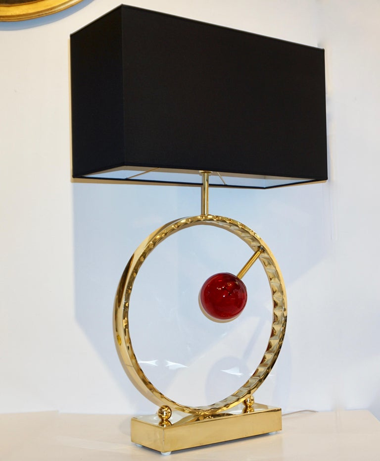 Contemporary Italian Monumental Pair of Brass & Red Murano Glass Console Lamps For Sale 10