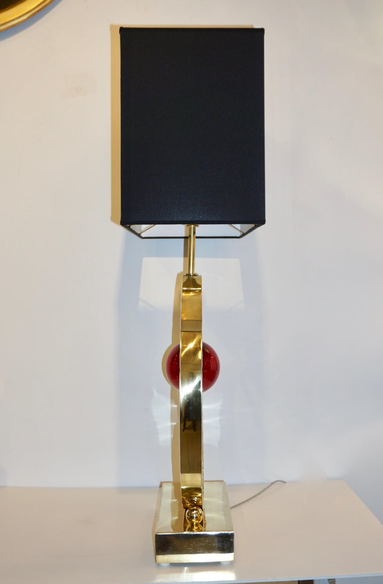 Organic Modern Contemporary Italian Monumental Pair of Brass & Red Murano Glass Console Lamps For Sale