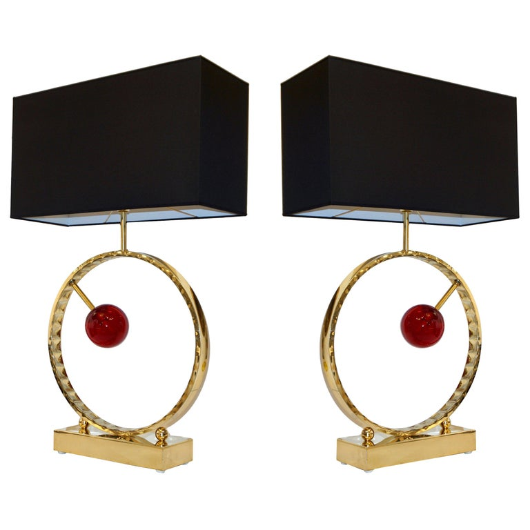 Contemporary Italian Monumental Pair of Brass & Red Murano Glass Console Lamps For Sale