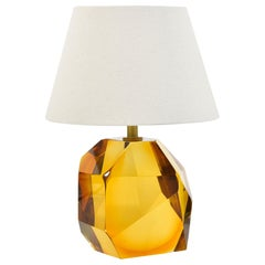 Contemporary Italian Murano Amber 'Rock' Table Lamp