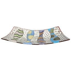 Contemporary Italian Murano Glass Silver Blue Green Mosaic Centerpiece on Red