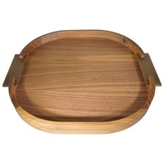 Contemporary Italian Natural Wood Small Round Riviere Tray with Metal Handles