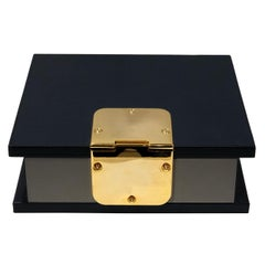 Contemporary Italian Navy Blue and Gray Leather Box